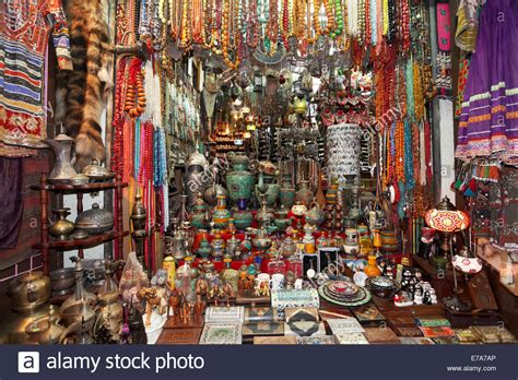Colourful wares and souvenirs in a shop in the Muttrah