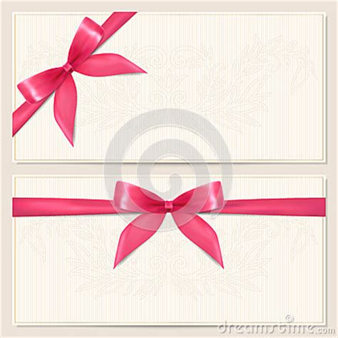Gift Voucher / Coupon Template With Bow (ribbons) Stock