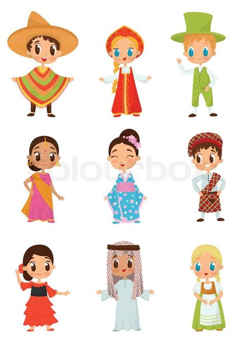 Set of little kids in different
