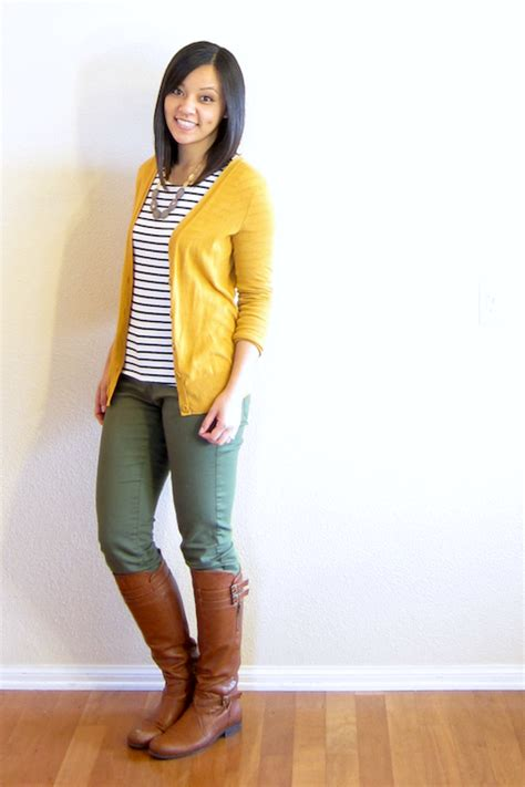 Olive and Mustard   Olive pants outfit, Yellow cardigan