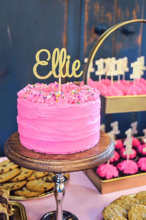 Pink & Gold Twin Birthday Party - Ellie & Lyla's First